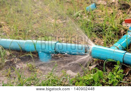 Breken garden pipeline with large amount of leakage water.