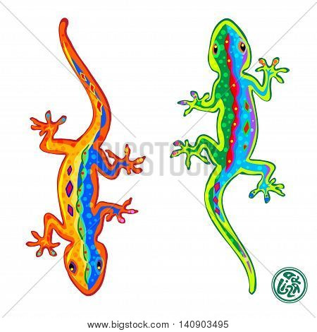 Beautiful stylized colored lizards isolated on white background, Gecko. Vector illustration.