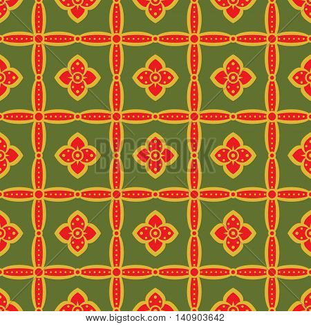 Seamless retro pattern with flowers in green, bright red, mustard colors. Elegant floral ornament in folk style. Vector illustration for fashion design