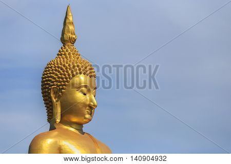 Golden Buddha Statue In Angthong Province In Thailand