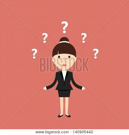 Business situation. Businesswoman thinking over the solution. Vector illustration.