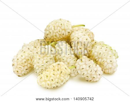 Isolated heap of fresh ripe white mulberry berries on white background. Design element for product label, catalog print, web use.