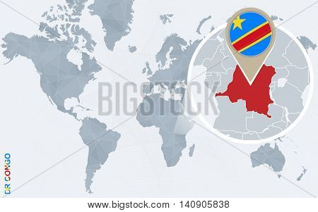 Abstract Blue World Map With Magnified Democratic Republic Of The Congo.