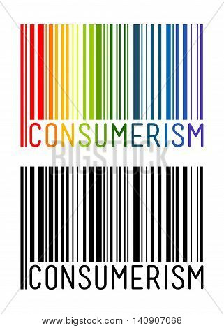 Vector stock of barcode with consumerism word inside
