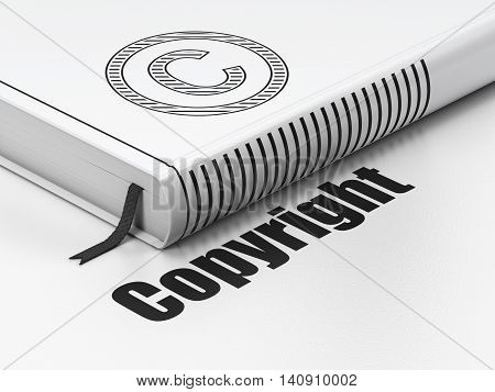 Law concept: closed book with Black Copyright icon and text Copyright on floor, white background, 3D rendering