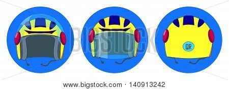 Motorbike helmet vector illustration in flat style. Personal safety equipment for motorcycle driver on road. Lifeguard gear for racer. Set of yellow helmet in three dimensions on blue background