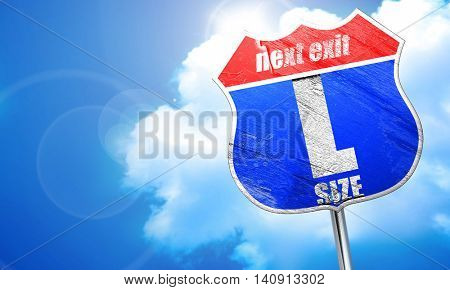 l size, 3D rendering, blue street sign