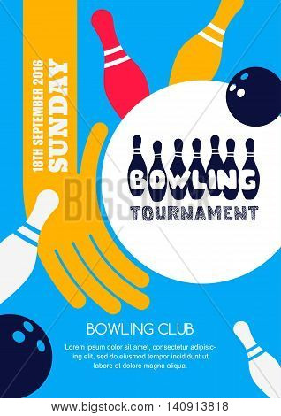 Printvector Bowling Tournament Banner, Poster Or Flyer Design Template.