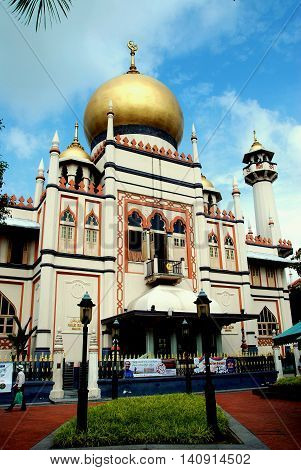 Singapore - December 17 2007: The 1924-28 Masjid Sultan Singapura Mosque in the historic Kampong Glam Arab district