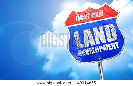 land development, 3D rendering, blue street sign