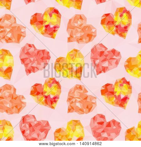 Valentine Holiday Background with Color Hearts, Low Poly Abstract Pattern, Colorful Polygonal Background. Vector