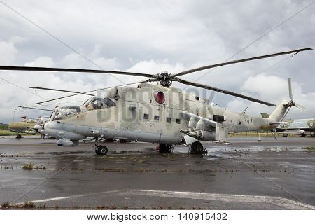BERLIN-GATOW GERMANY - JUN 1 2016: Former Eastern German Mi-24 Hind attack helicopter on display at the aviation museum on former Gatow airfield.