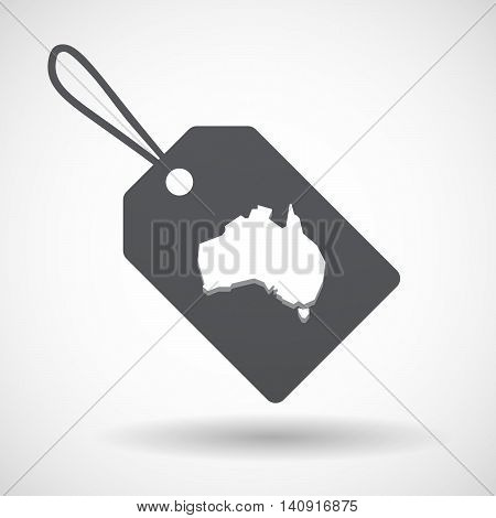 Isolated Label With  A Map Of Australia