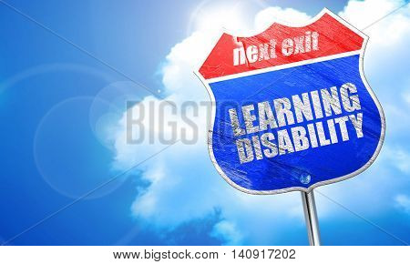 learning disability, 3D rendering, blue street sign