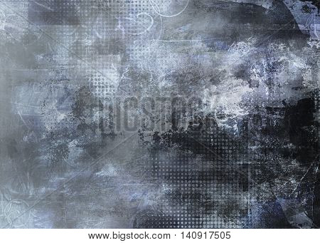 abstract gray background created by using different photographs textures and hand painted layers