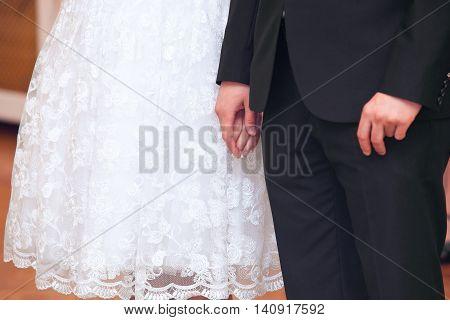 wedding theme, holding hands newlyweds. new marriage