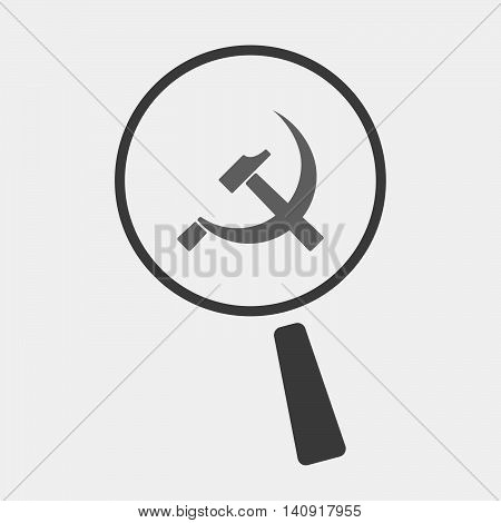Isolated Magnifier Icon With  The Communist Symbol