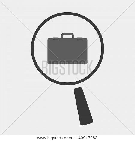 Isolated Magnifier Icon With  A Briefcase