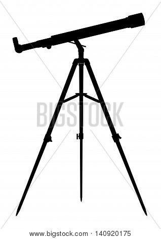 Telescope isolated on white, silhouette of telescope refractor, EPS 8.