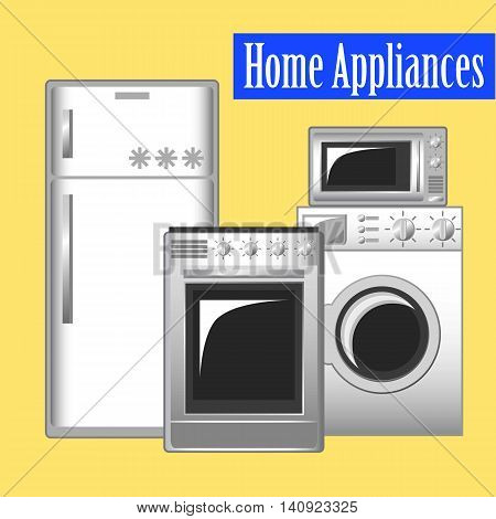 Home appliances set, kitchen ware: refrigerator, washing machine, microwave, stove. Flat vector illustration of modern household goods on yellow background. House keeping technics. Banner template