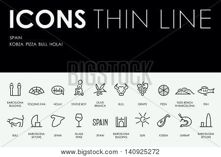 Thin Stroke Line Icons of Spain on White Background
