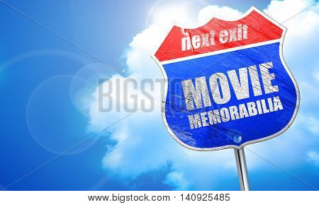 movie memorabilia, 3D rendering, blue street sign