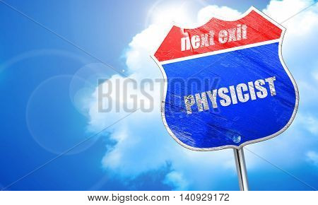 physicist, 3D rendering, blue street sign