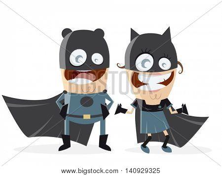 superhero couple in black costumes