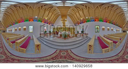 SUB CETATE, ROMANIA - July 16: 360 panorama from the altar of Saint Joseph Catholic Church on July 16th, 2016, in Zeteváralja (Sub Cetate), Transylvania, Romania.