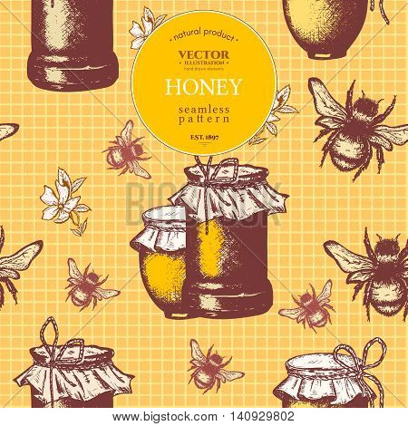 Honey seamless pattern ink hand drawn sketch illustration
