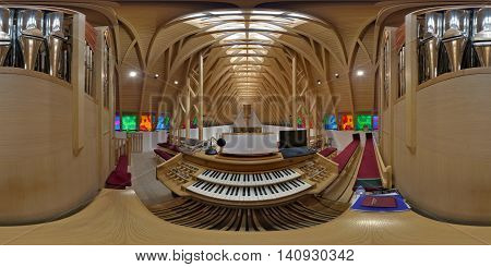 SUB CETATE, ROMANIA - July 17: 360 panorama from organist's point of view of the interior of Saint Joseph Catholic Church in Zeteváralja (Sub Cetate), Transylvania, Romania.
