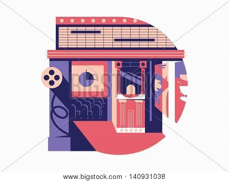 Cinema hall flat concept. Cinematography and movie film, vector illustration