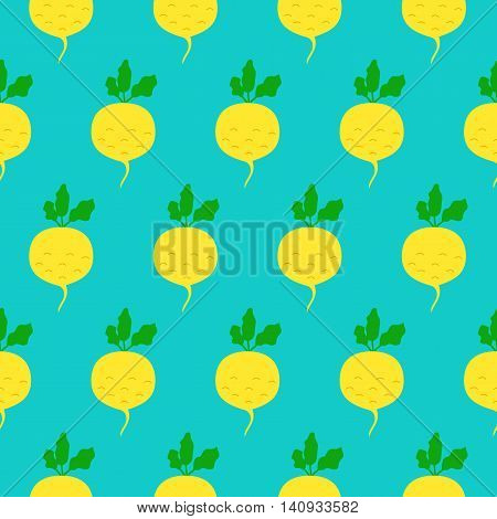 Turnip seamless pattern. Vector illustration of  image of turnip on a mint background.