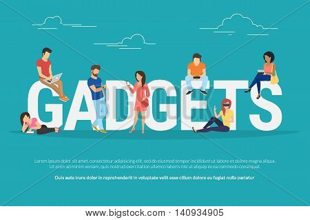 Gadgets concept illustration of young people using devices such as laptop, smartphone, tablets, smart watches and vr helmets. Flat design of gadgets addiction for website banner and landing page