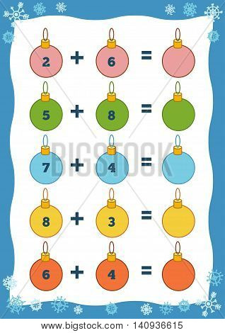 Counting Educational Game For Children. Addition Christmas Worksheets