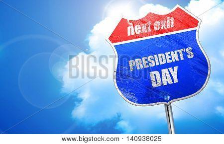president's day, 3D rendering, blue street sign