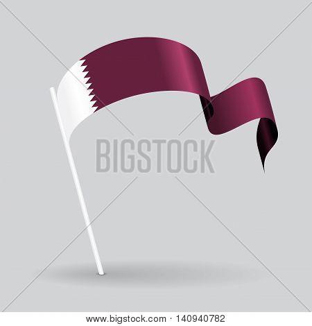 Qatari pin icon wavy flag. Vector illustration.