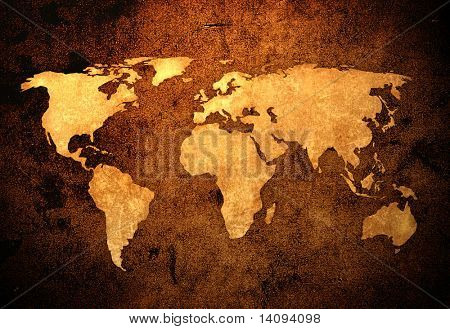 aged world map