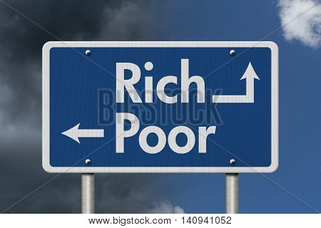 Being Rich versus Poor Blue Road Sign with text Rich and Poor with bright and stormy sky background, 3D Illustration