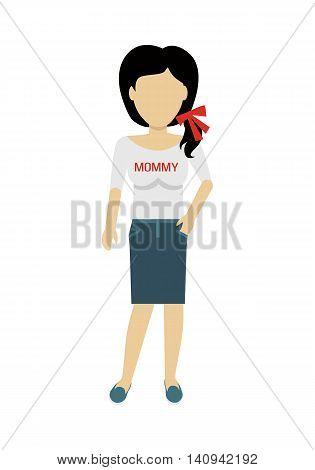 Female character without face in blouse with mommy title vector. Flat design. Woman template personage figure illustration for mother day concepts, fashion app, infographic. Isolated on white.