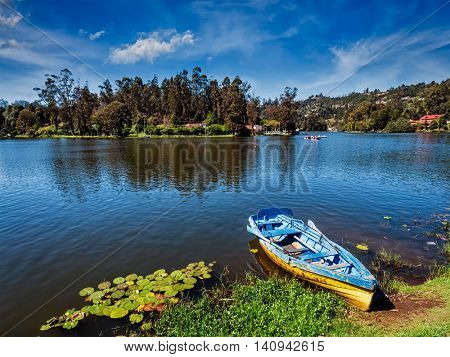 Boat in lake. Kodaikanal, Tamil Nadu, India