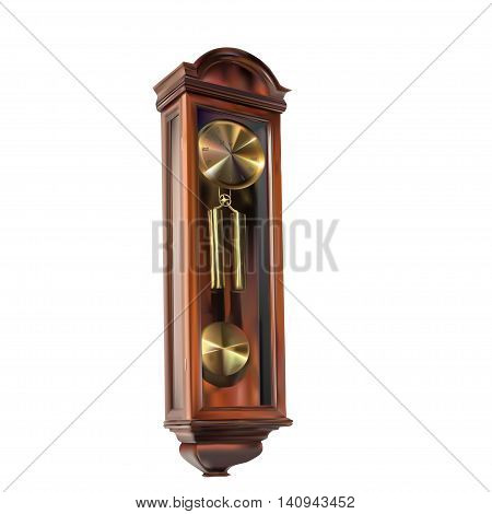 old retro wall clock with pendulum - vector illustration for design