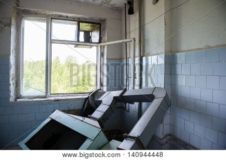 Interior Of An Old Abandoned Soviet Hospital