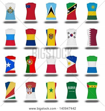 Compilation Of Nationals Flag Shirt Icon On White Background Part 810