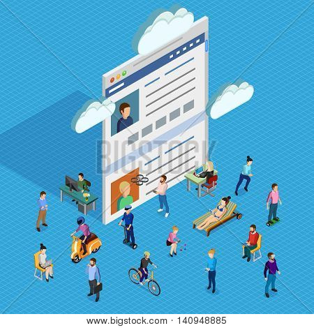 Forum society of men and women of different ages having various interests and using electronic devices isometric composition with forum page and clouds on blue background vector illustration