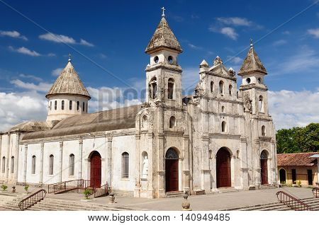 Granada - the colonial oldest Spanish city in Nicaragua has trim churches the fine palm-covered plaza and the colorful architecture. The picture present Guadalupe church