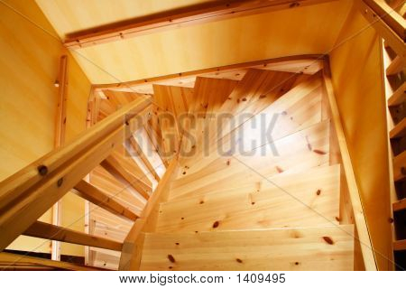 Wooden Staircase In A Swedish Villa House
