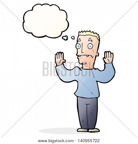 cartoon man surrendering with thought bubble