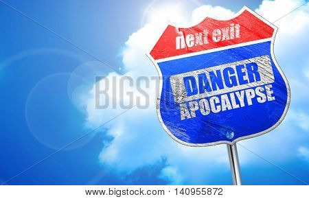 apocalypse danger background, 3D rendering, blue street sign