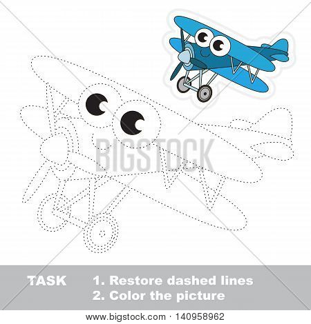 Blue Biplane in vector to be traced. Easy educational kid game. Simple game level. Restore dashed line and color the picture. Trace game for children.